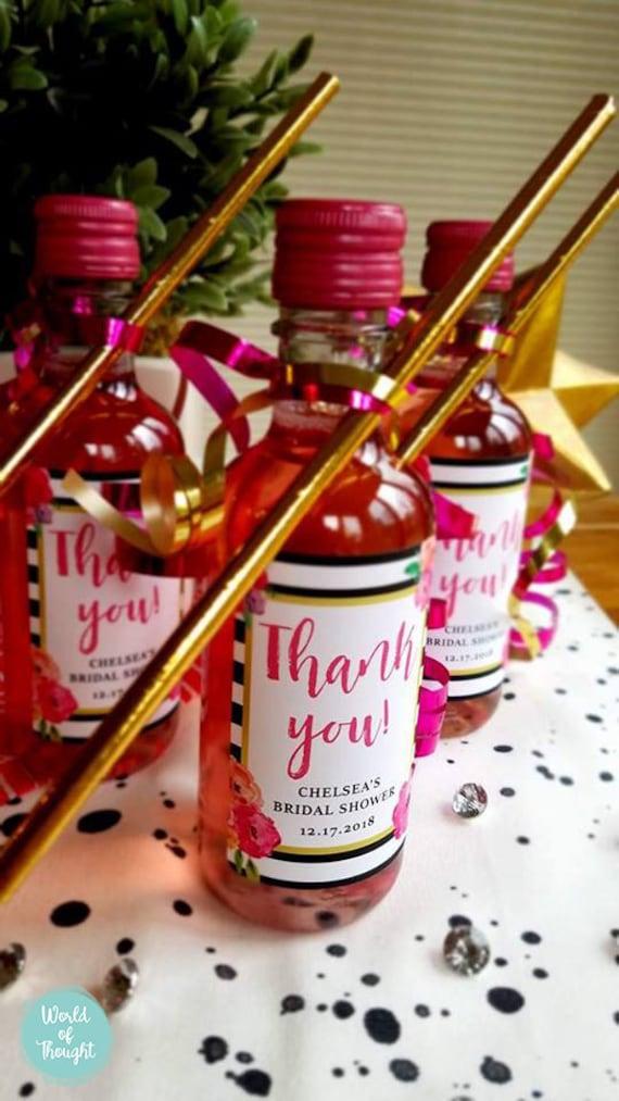 Gift Idea 0006 Pink Black Gold White Theme Party Sticker Custom Stripes /& Flowers Bridal Shower Wedding Favor Mini Wine Bottle Label
