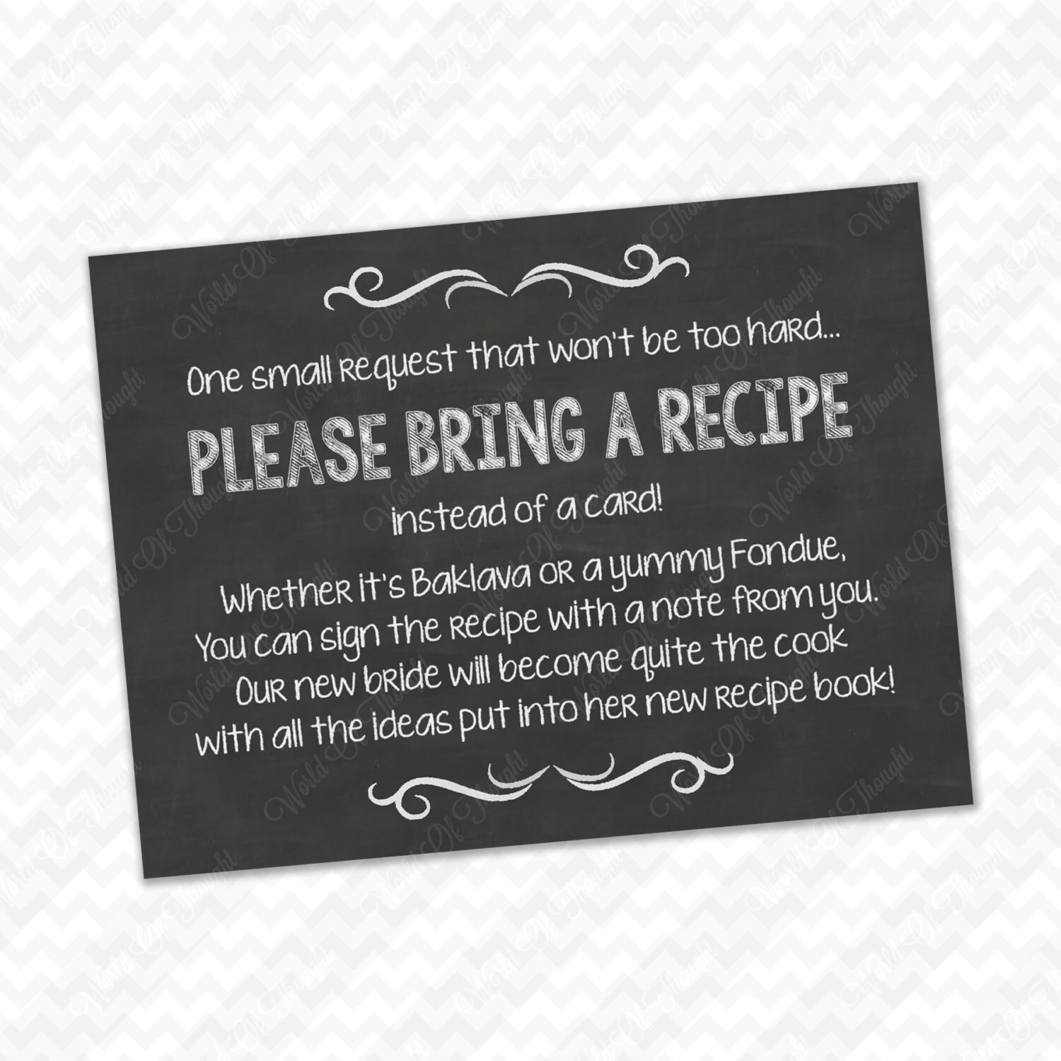 Please Bring A Recipe Instead Of Card Insert For Bridal Shower Invitations