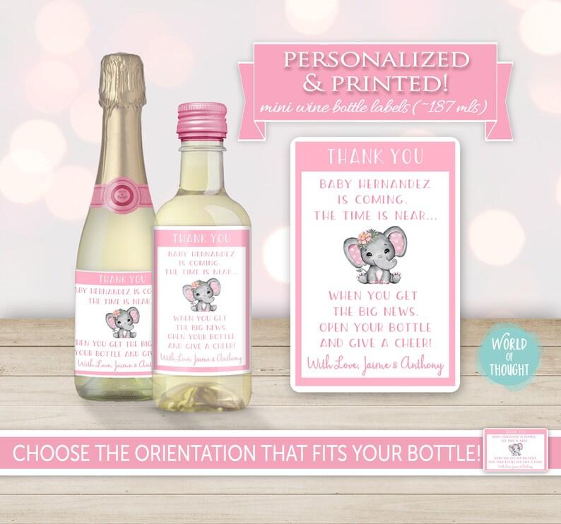 Custom Hostess Gift Personalized Sticker Cute Thank You Present Idea Elephant Girl Flower Baby Shower Party Favor Mini Wine Bottle Label