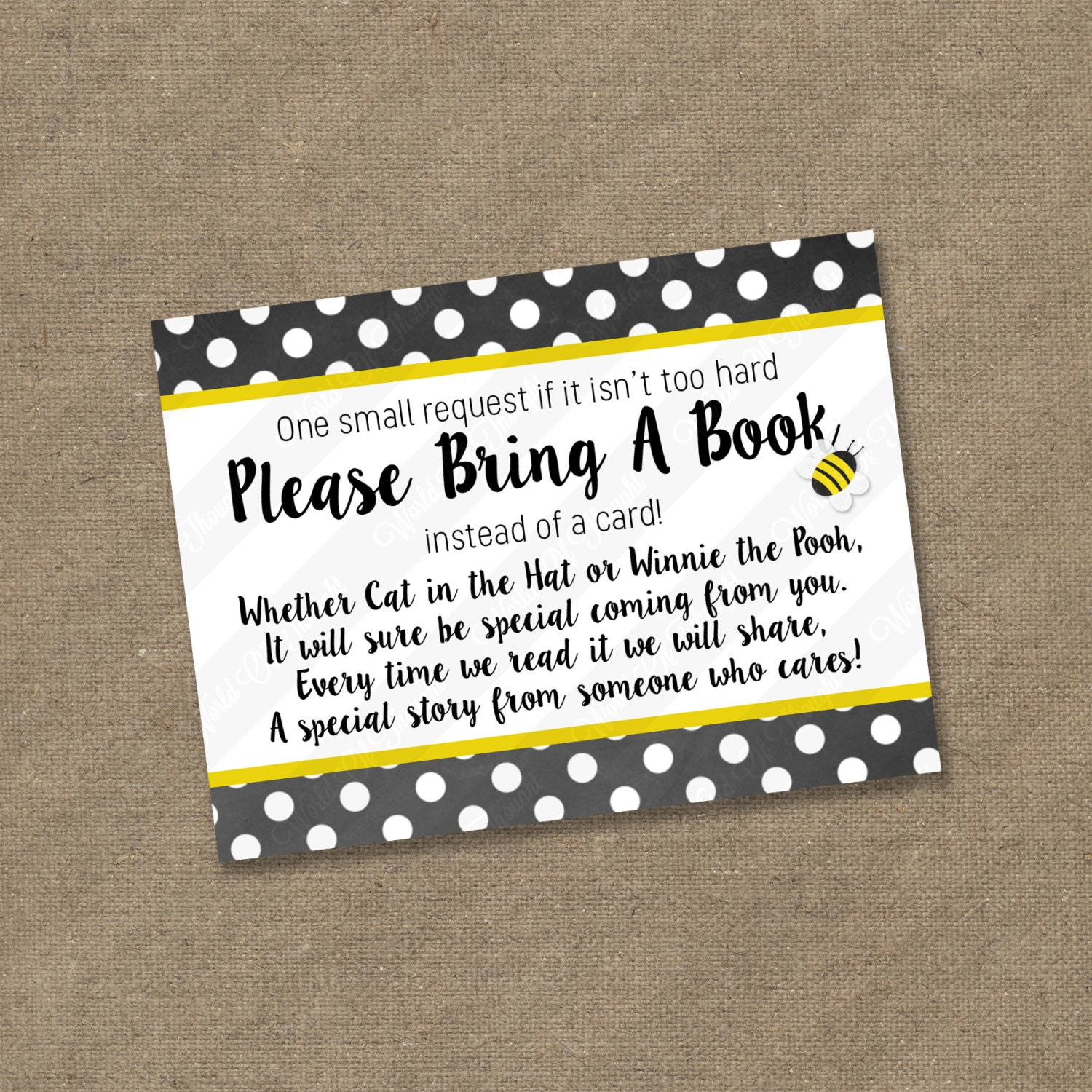 Please Bring A Book Instead Of Card Insert For Baby Shower Invitations