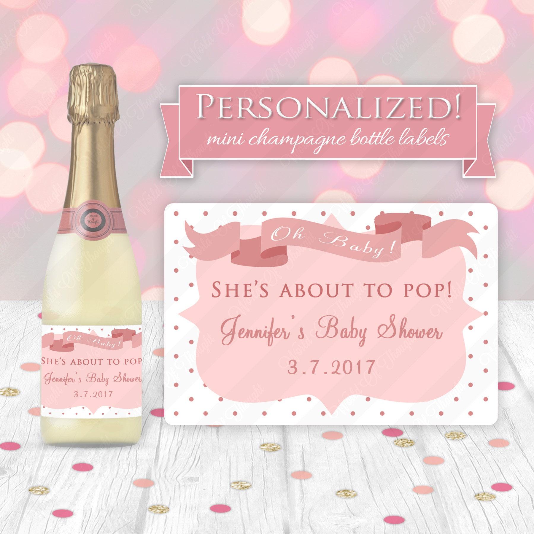 Personalized Baby Shower Mini Champagne Bottle Sticker Ready | Etsy
