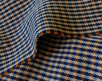 Navy and Vibrant Orange Wool Fabric