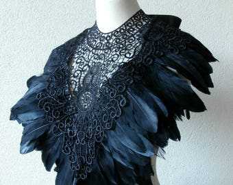 Deluxe Black Capelet Goose Feathers Lace Gothic Victorian Collar Cape Epaulettes Floral Bib Burning Man Burlesque Necklace Maleficent Drag