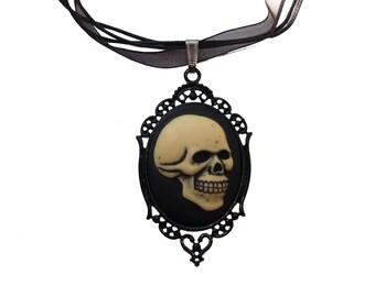 Black Bones Skeleton Skull Cameo Pendant Necklace Shiny Cream Black Goth Human Filigree Organza Cord