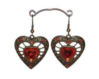 Love Heart Red Neo Victorian Cabochon Earrings Antiqued Bronze Gothic Lolita Handmade by Victorian Scarlett Designs