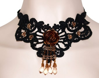 Lovely Steampunk Inspired Rose Choker Necklace Venice Lace Black Brown Copper Neo Victorian Handmade Dangles Flower