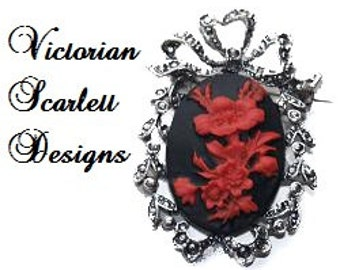 Small Antiqued Silver Cameo Brooch Victorian Red Flowers Gothic Floral Pin With Bow Top AA056