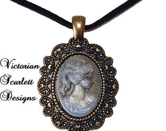 Romantic Pendant Necklace with Cameo of Neo Victorian Woman Gothic Lolita Gold Antiqued Brass Filigree - K059