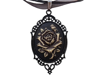 Black Steampunk Victorian Rose Flower Cameo Pendant Necklace Gothic Antiqued Ivory My Sweet Rose Filigree Organza Cord