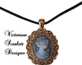 Romantic Pendant Necklace with Cameo of Neo Victorian Woman Face Gothic Lolita Grey Black Antiqued Gold Filigree - K054