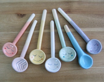 Small Spoon, Your Choice of One Handmade Ceramic Spoon for Spices or Salt, Pottery Salt Spoon, Foodie Gift, Smiley Face
