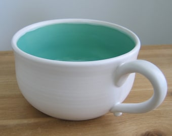 Large Soup Mug, 20 oz. Stoneware Pottery Coffee Mug or Cappuccino Cup in Mint Green and White, Hand Thrown Ceramic, Self Care Gift, Chili