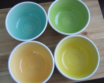 Handmade Mismatched Soup or Cereal Bowls, Set of 4 Pottery Bowls, Wheel Thrown Stoneware Ceramic, Spring Colors, Foodie Chef Gift, Ice Cream