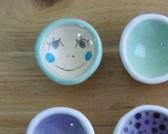 Tiny Ring Holder, Your Choice of ONE Ceramic Wedding Ring Bowl, Engagement Gift, Trinket Dish, Smiley Face, Polka Dots