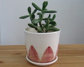 Modern Ceramic Pottery Cactus Planter, Plant Pot with Drainage Tray, Medium Rose Pink and White Succulent Pot, Minimalist Indoor Planter