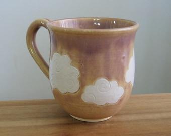 Cloud Mug, Large Pottery Coffee Mug with Fluffy Clouds 16 oz. , Coffee Gift, Hand Thrown Stoneware Ceramic Cup Handmade