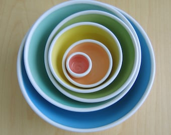 Large Rainbow Nesting Bowls, Ceramic Pottery Stoneware Serving Set, Wedding Gift, Mismatched Stacking Bowls, Anniversary Gift, Foodie Chef