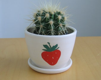 Strawberry Planter, Small Cactus or Succulent Plant Pot with Drainage, White Pottery, Ceramic Indoor Gardening Gift , Cute Berry