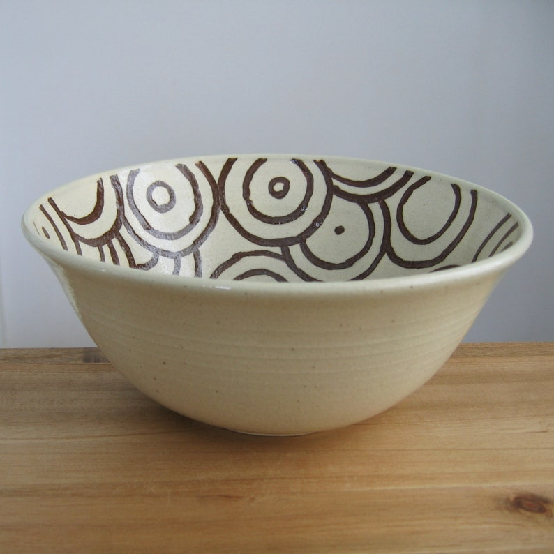 Stoneware Salad Bowl Anniversary Gift Large Handmade Ceramic Serving Bowl with Chocolate Brown Circle Pattern Funky Pottery Fruit Bowl