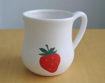 Strawberry Mug, Large White Pottery Coffee Mug, 18 oz. Hand Thrown Stoneware Ceramic Pot Belly Mug, Coffee Gift, Gifts for Her