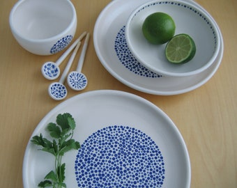 Cobalt Blue Polka Dot Seven Piece Serving Set, Stoneware Plates, Bowls, Spoons, Modern White Pottery, Ceramic Wedding Gift, 9th Anniversary