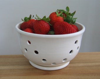Berry Bowl with Saucer, Ceramic Berry Bowl, Modern White Stoneware Pottery, Strawberry Colander, Bridal Shower or Wedding Gift, Chef Gift