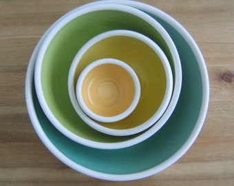 Mismatched Pottery Nesting Bowls, Set of Stacking Ceramic Serving Bowls in Spring Colors, Mint Wedding Gift, Gifts for Her, 9th Anniversary