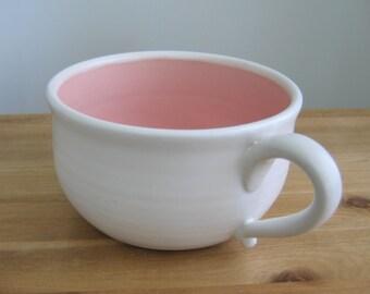 Soup Mug, 20 oz. Large Stoneware Pottery Coffee Mug in Pink & White, Ceramic Cappuccino Cup, Oatmeal Bowl, Housewarming Gift, Self Care