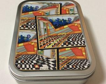 "2oz Tobacco Tin featuring ""Freemasonic Floor"" Design (Portrait Orientation) by Michael Carlton"