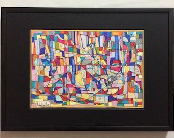 "Original Framed Drawing - ""Amsterdam"" by Michael Carlton"