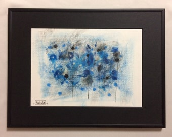 """Original Framed Acrylic on Canvas Paper Painting - """"Cold Blue Ice"""" by Michael Carlton"""