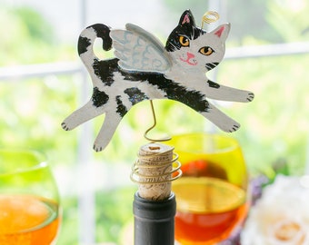 Black and White Cat Angel - Tree Topper - Cat Christmas Tree Topper - Wine Bottle Topper - Cat Memorial - Cat Decor - Cat Lover Gift