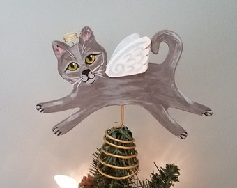 Russian Blue Cat Angel Tree Topper - Cat Christmas Tree Topper - Cat Angel - Wine Bottle Topper - Cat Memorial - Cat Decor - Cat Lover Gift