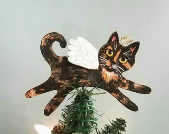 Tortoiseshell Cat Angel Tree Topper - Cat Tree Topper - Mini Topper - Christmas Tree Topper - Wine Bottle Topper - Topiary Topper