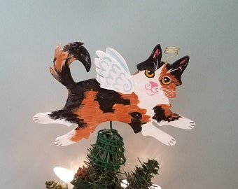 Calico Cat Angel Tree Topper - Cat Christmas Tree Topper - Cat Angel - Wine Bottle Topper - Cat Memorial - Cat Decor - Cat Lover Gift