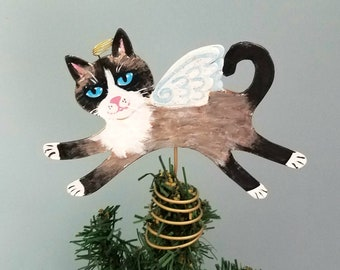 Snowshoe Cat Tree Topper - Cat Christmas Tree Topper - Cat Angel - Mini Cat Topper - Cat Memorial - Siamese Cat Decor - Cat Lover Gift