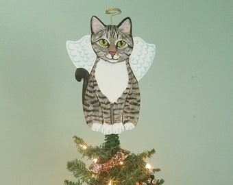 Cat Tree Topper - Tabby Cat Angel Tree Topper - Cat Christmas Tree Topper - Cat Memorial - Personalized Cat - Cat Decor