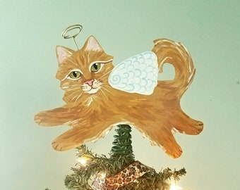 Cat Tree Topper - Ginger Cat Angel Tree Topper - Cat Christmas Tree Topper - Cat Memorial - Personalized Cat - Cat Decor
