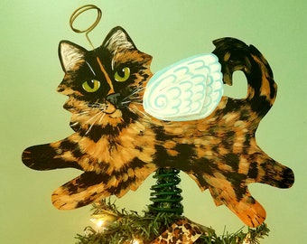Tortoiseshell Cat Angel Tree Topper - Tortie Cat - Cat Christmas Tree Topper - Cat Memorial - Personalized Cat - Cat Decor