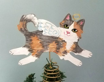 Calico Cat Tree Topper - Cat Christmas Tree Topper - Cat Angel - Mini Cat Topper - Cat Memorial - Dilute Calico Cat Decor - Cat Lover Gift