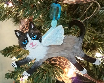 Snowshoe Cat Angel Ornament - Cat Angel - Cat Gift - Personalized Cat - Siamese Cat - Cat Memorial - Christmas Cat Ornament