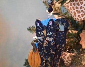 Tortoiseshell Cat Halloween Ornament, Personalized Cat