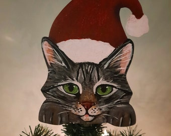 Tabby Cat Tree Topper, Cat Christmas Tree Topper, Cat in a Santa Hat, Cat Lover Gift