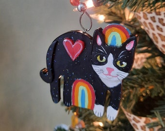 Rainbow Cat Ornaments, Cat Christmas Ornament, Tuxedo Cat, Black Cat