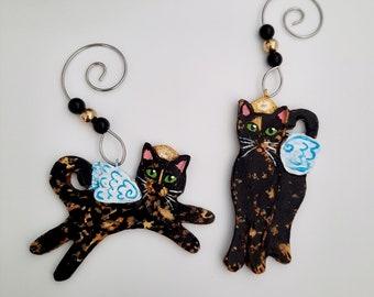 Mini Tortie Set, Tortoiseshell Cat Ornaments, Personalized Cat Memorials, Cat Christmas Ornament Best for Smaller Trees