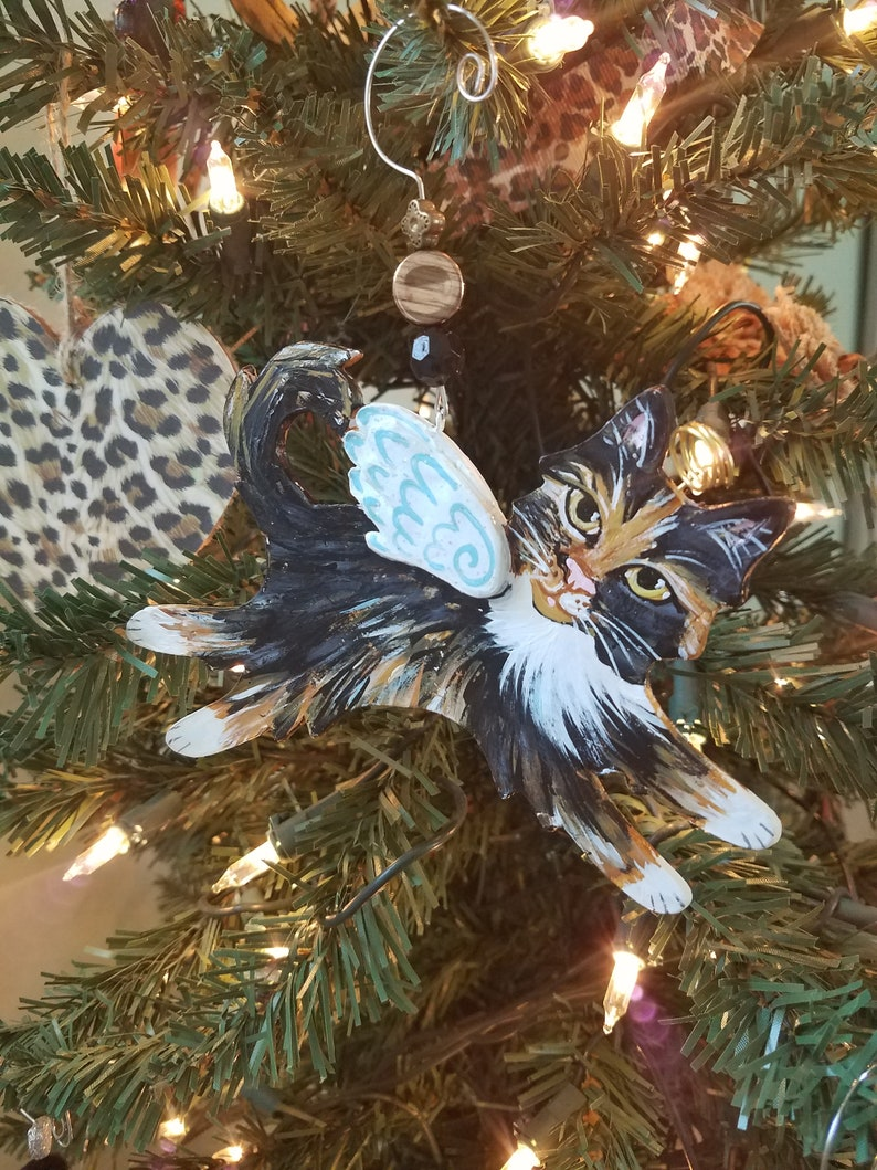 Calico Cat Angel Ornament  Personalized Cat Memorial Gift  image 0