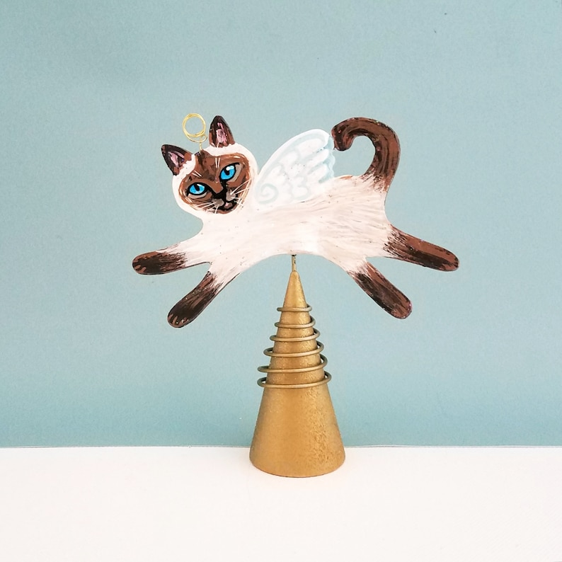 Siamese Cat Angel Figurine Tree Topper   Cat Angel Mini image 0