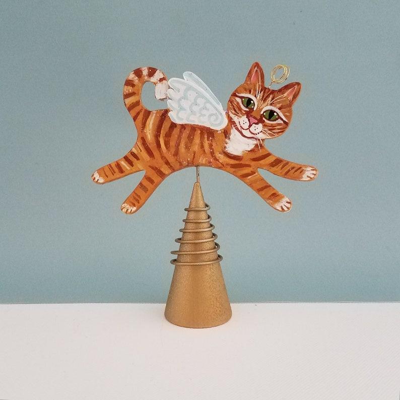 Orange Tabby Cat Angel Figurine Tree Topper   Cat Angel Mini image 0