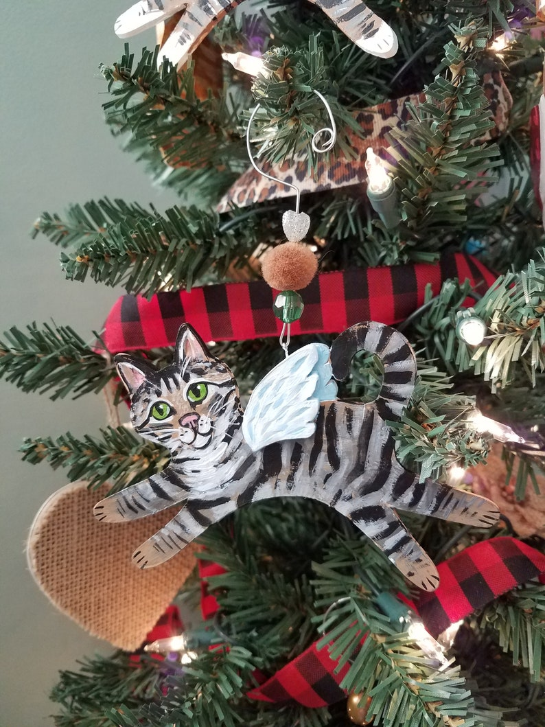 Tabby Cat Angel Ornament  Personalized Cat Gift  Cat image 0