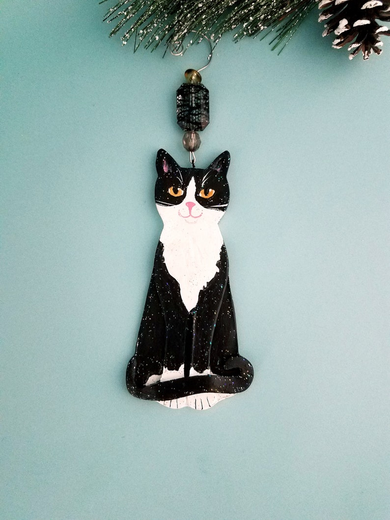 Tuxedo Cat Ornament  Handcrafted Cat Lover Gift  image 0
